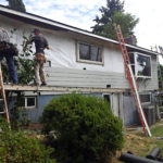 Weather barrier example on siding replacement job