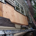 Exterior sheathing exposed for siding repair