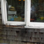 Dry rot in the window sill