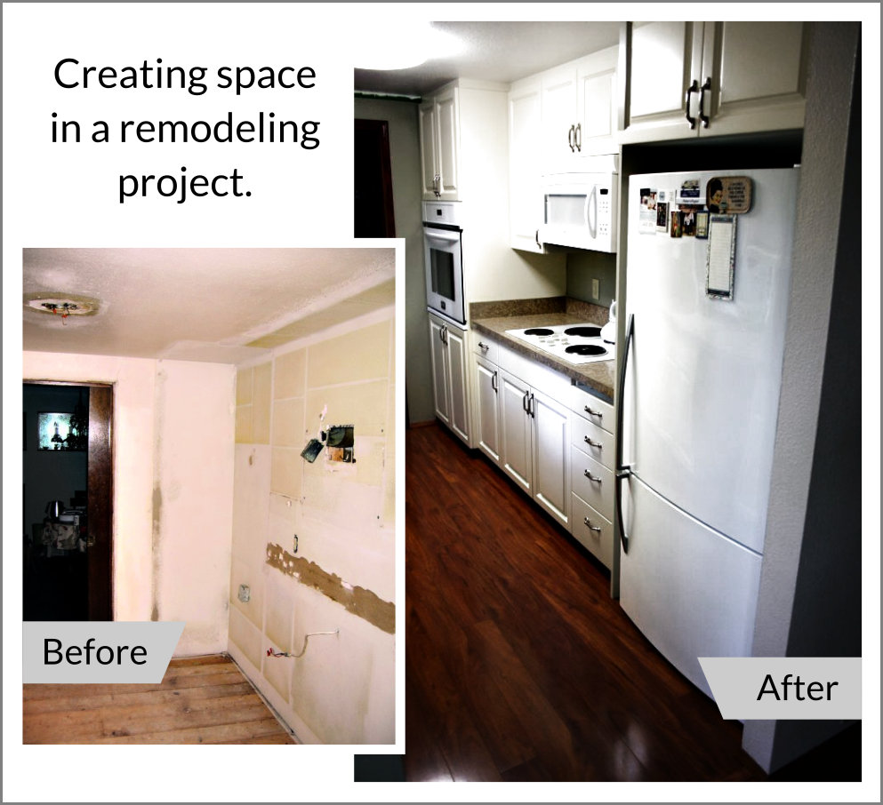 Creating space in a recent kitchen remodel in Portland, Oregon. Before and after.