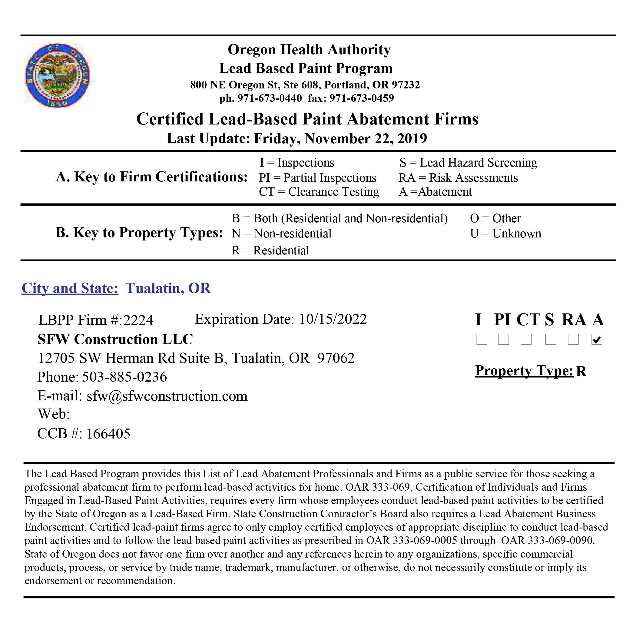 Certified Lead Paint Removal