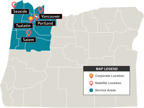 Oregon Siding And Dry Rot Repair Service Area Map
