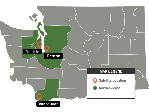 Washington Siding And Dry Rot Repair Service Area Map