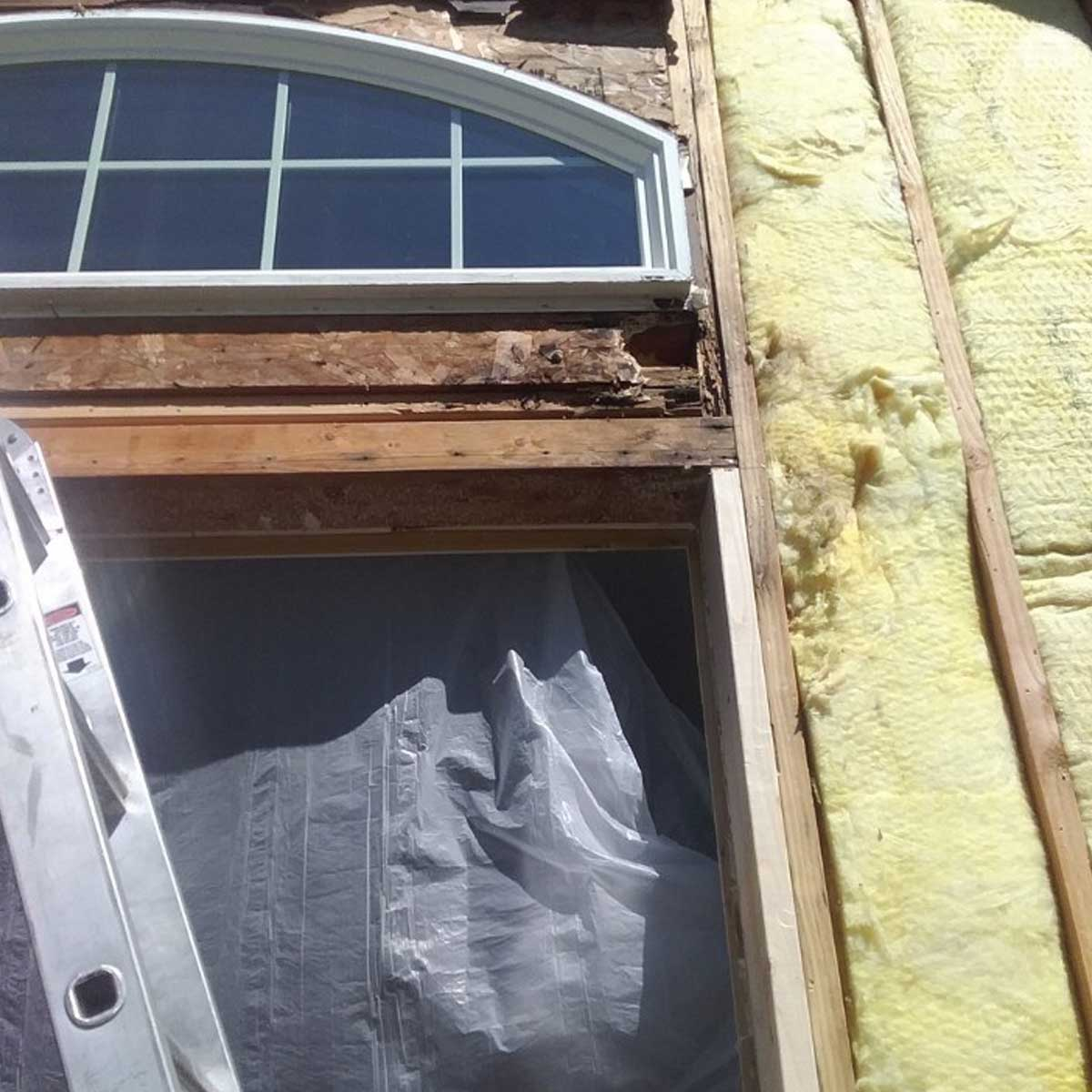 Removing Wood Around Window To Discover Damage From Window Leak